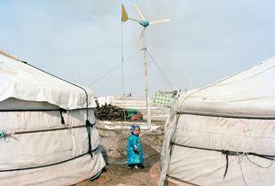 A child outside Monglian yurt,2013