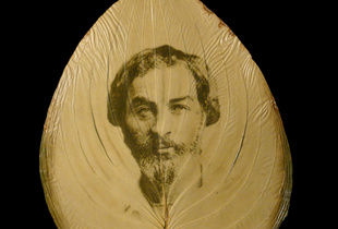 Walt Whitman (1854) in hosta leaf from the author's Camden House garden; chlorophyll print and resin; 13 x 10 inches