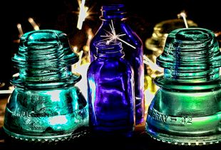 Creative Art - Vintage Insulators meet modern fire and create instant sparks.