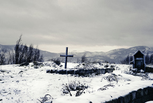 Zvečan, Kosovo. November 2013. Tombs near the enclave of Zvečan.