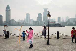 Kids playing on the bund