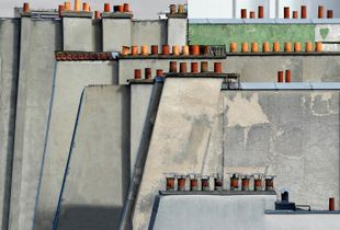 "From the series ""Paris Rooftops,"" which Wolf made during his years in the City of Light, an iconic location that initially stymied his creative efforts. Eventually, Wolf took to the roofs, discovering a simple and appealing geometric beauty that contrasted with the heavily loaded architecture found on the street level."