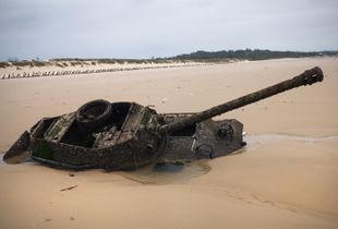 A beached tank in Kinmen, Taiwan, April 2017.