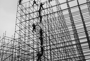 Men Working. Photo made during the preparations for the Olympic Games in Rio de Janeiro. © Leny Fontenelle. Chosen for the LensCulture Street Photography Awards Top 100.