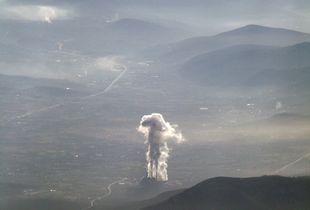 Factory smoke over Muğla Province