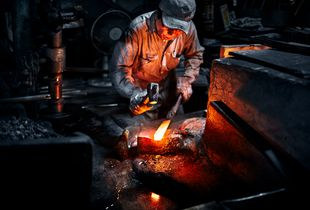 Hand striking raw steel into a form suited for the basic forging is a long and grueling process.