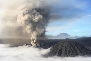 View of Volcano Bromo at sunrise