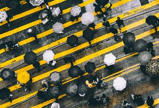 Umbrella Revolution. Taken in Causeway Bay, Hong Kong. © Pablo Weber. Finalist, LensCulture Street Photography Awards 2017.