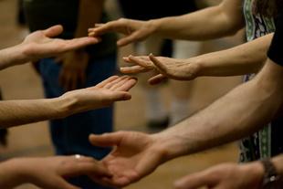Taking hands, New England Folk Festival, Mansfield, MA