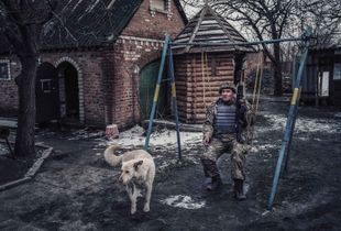 company sergeant with dog,Old Aidar,Lugansk[ATO]