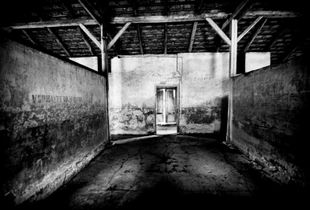 Inside a barrack at Birkenau