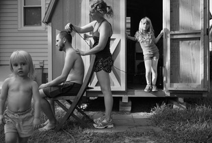 Backyard haircut.
