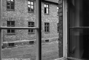 Auschwitz, view through a window in a barrack