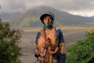 Farmer in front of Mount Bromo, Indonesia