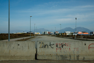 """""""Private property"""" signs in the road. Tirana the Capital City."""