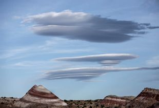 Lenticular clouds, Bentonite Hills,Capitol Reef National Park Utah, USA
