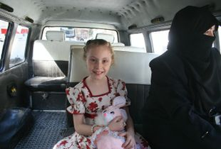 Girl in bus, Mount Qasioun