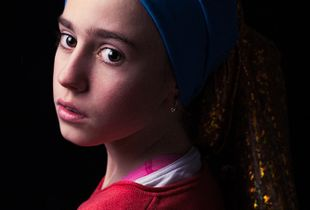 "My daughter Camila as Vermeer's ""Girl with a pearl earring"""