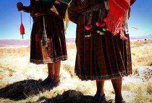 Aymara women spinning wool