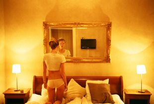 A hotel room, self portrait, Stockholm, 2012