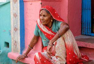 Woman in her doorway, Bundi Rajasthan. India