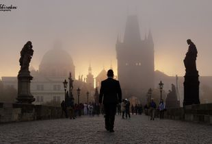 Prague. Morning. The Mysticism of Charles bridge