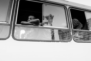 Kids bus and reflections of Cairo