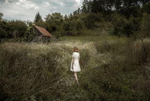 Johanna, 15, on her way to Saxon Richis Cemetery.