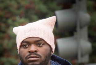Man wearing Pussy Hat