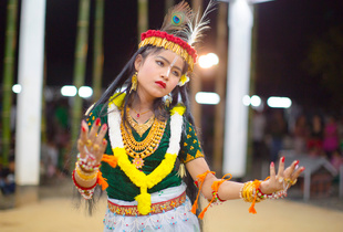 A girl dances the Leisem Jagoi (dance of devotion), at the Thangjing Lai Haraoba festival of Moirang.