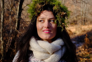 Girl with winter moss