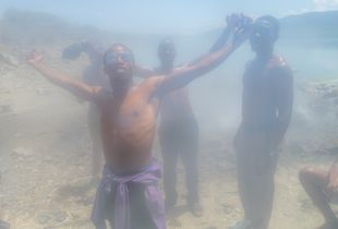 Students at Hot Springs in Bogoria, Kenya
