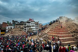 Destruction in Durbar Square.