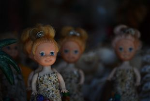 Dolls With Crushed-Seashell Dresses, Playa Linda, Ixtapa, Mexico
