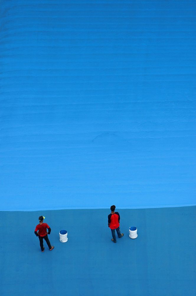 "Lost in Blue. From the series ""Geometry and Color"" © Jolanta Mazur. Finalist, LensCulture Street Photography Awards 2017."