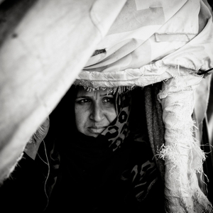 Syrian refugee in camp near Jeeza, Jordan