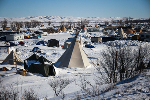A view of the Oceti Oyate Camp on Army Corps of Engineers land bordering the Standing Rock Indian Reservation in Cannon Ball, North Dakota in January 2017.