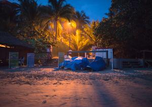 Beach at Bacerlo Hotel. Sunset. Ixtapa.