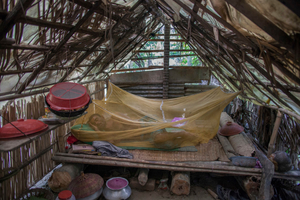 In one of the flood affected areas a man is sleeping in the temporarily built house made of bamboo and plastic sheet. Satkhira, Bangladesh