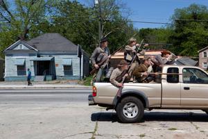 Jeff Balentine, Kenneth Daniel, Dylan Woodliff, Stephen Evans and Lewis Robinson on the site of The Battle of Ezra Church, Atlanta, GA, 2014.