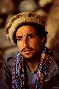 Portrait of Commander Massoud (1953-2001) during the Soviet invasion of Afghanistan (1979-1989). Afghanistan, Panjshir Valley, 1985.