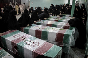 iranian martyrs of iran and iraq war _these bodied found after 30 years in iraq _ Tehran 2014