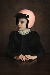 Girl wearing a helmet