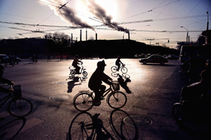 Morning on the 4th ring road of East Beijing. The 'smog apocalypse', caused by coal-fire power plants has become a notorious problem across China's urban areas. This January the cancer-causing PM2.5 fine particle pollution count reached 3 times the UN 'Extremely Hazardous' category, at over 900. ©Souvid Datta
