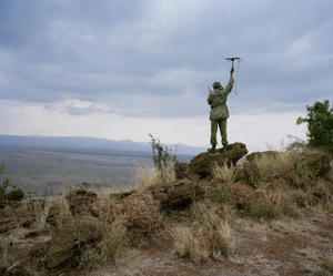 monitoring lion, lewa conservancy, northern kenya-from the series 'with butterflies and warriors'-David Chancellor