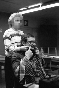 "Fake mustaches and beards likewise belong to the Stasi's standard repertoire and its personnel were also instructed in how to affix them. Such seminars were documented for training purposes. From the photobook ""Top Secret"" © Simon Menner"