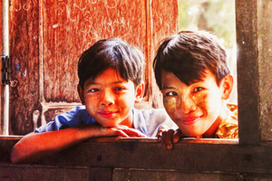 Myanmar Children Watching Classmates Performance