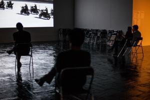 Screening film in Madrid.