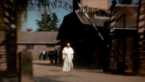 Oswiecim Poland (2016).  Pope Francis walks towards the gate of the former Nazi death camp of Aushwitz.