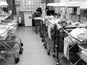 The newborns room is the place where the babys are staying after birth, waiting for the doctor to make the first tests.